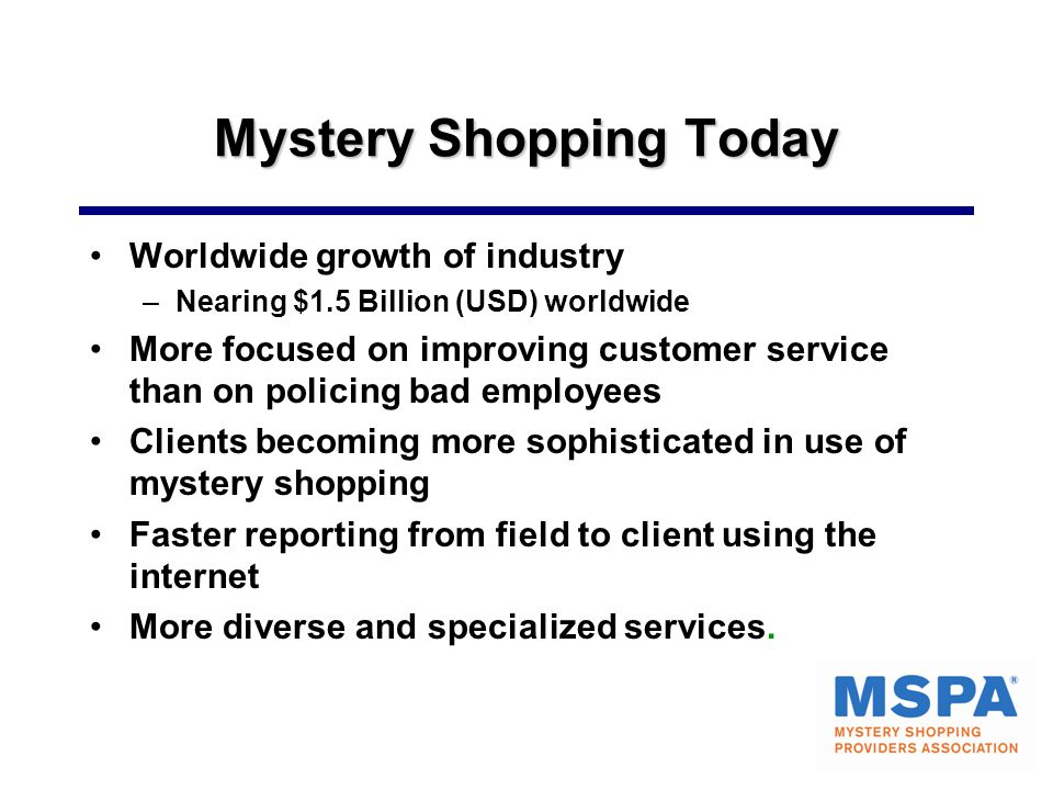 Mystery Shopping Today