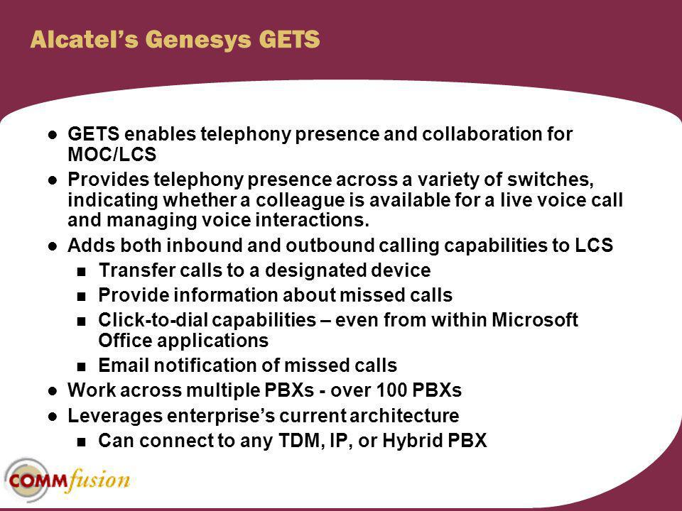 Alcatel's Genesys GETS