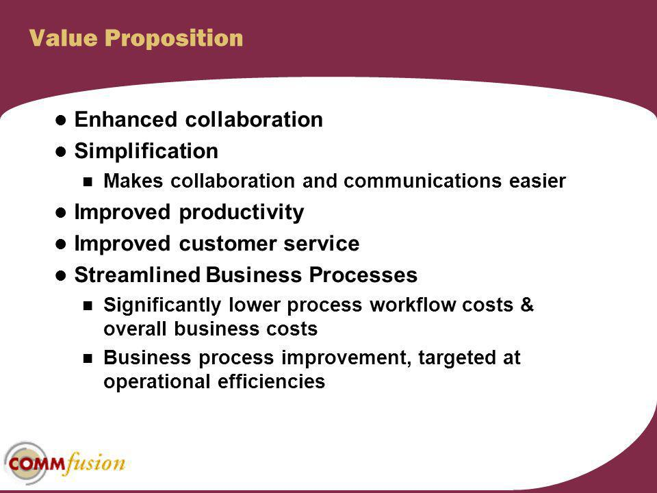 Value Proposition Enhanced collaboration Simplification