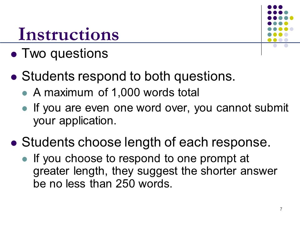 Instructions Two questions Students respond to both questions.