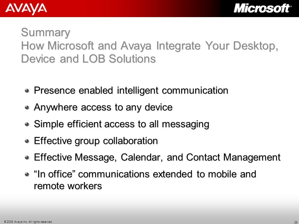 Summary How Microsoft and Avaya Integrate Your Desktop, Device and LOB Solutions