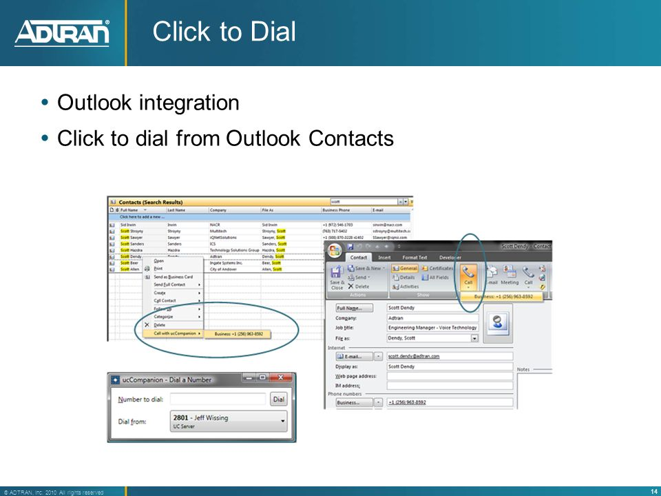 Click to Dial Outlook integration Click to dial from Outlook Contacts