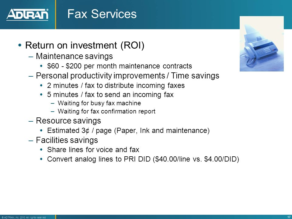 Fax Services Return on investment (ROI) Maintenance savings