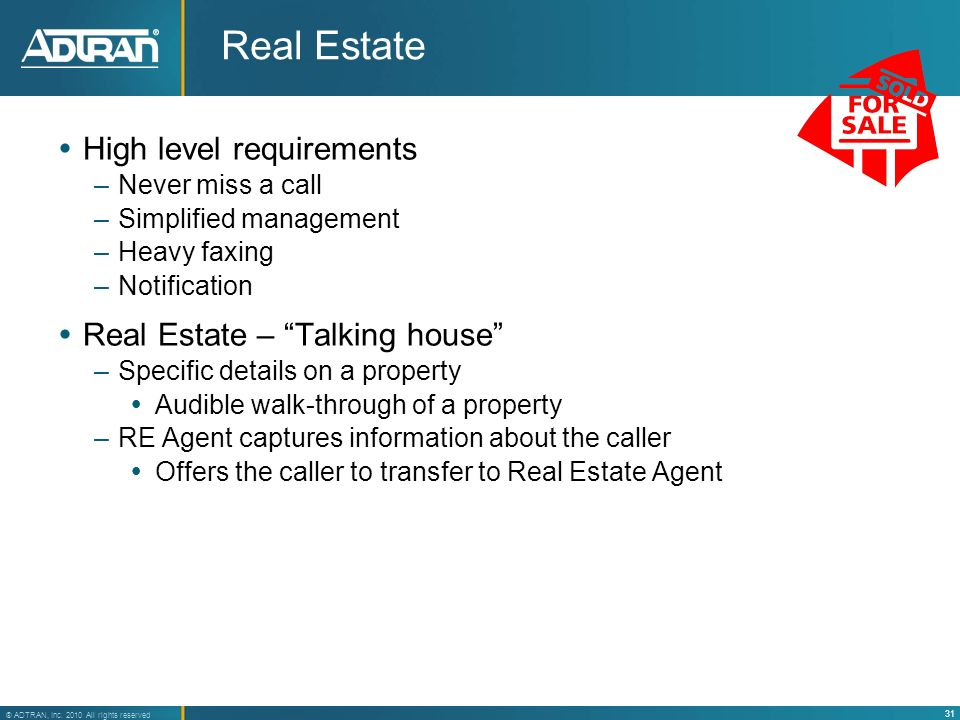 Real Estate High level requirements Real Estate – Talking house
