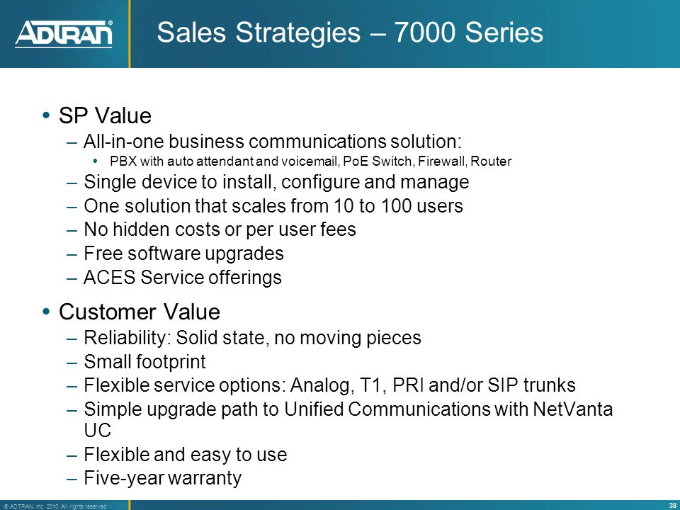 Sales Strategies – 7000 Series