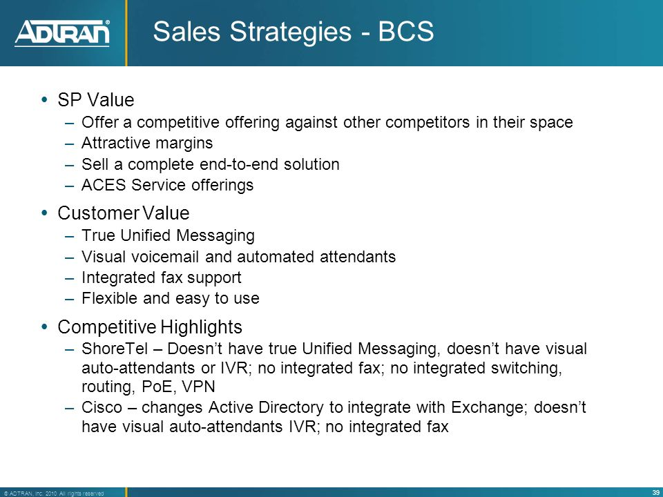 Sales Strategies - BCS SP Value Customer Value Competitive Highlights