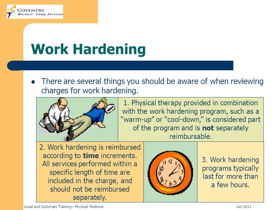 3. Work hardening programs typically last for more than a few hours.