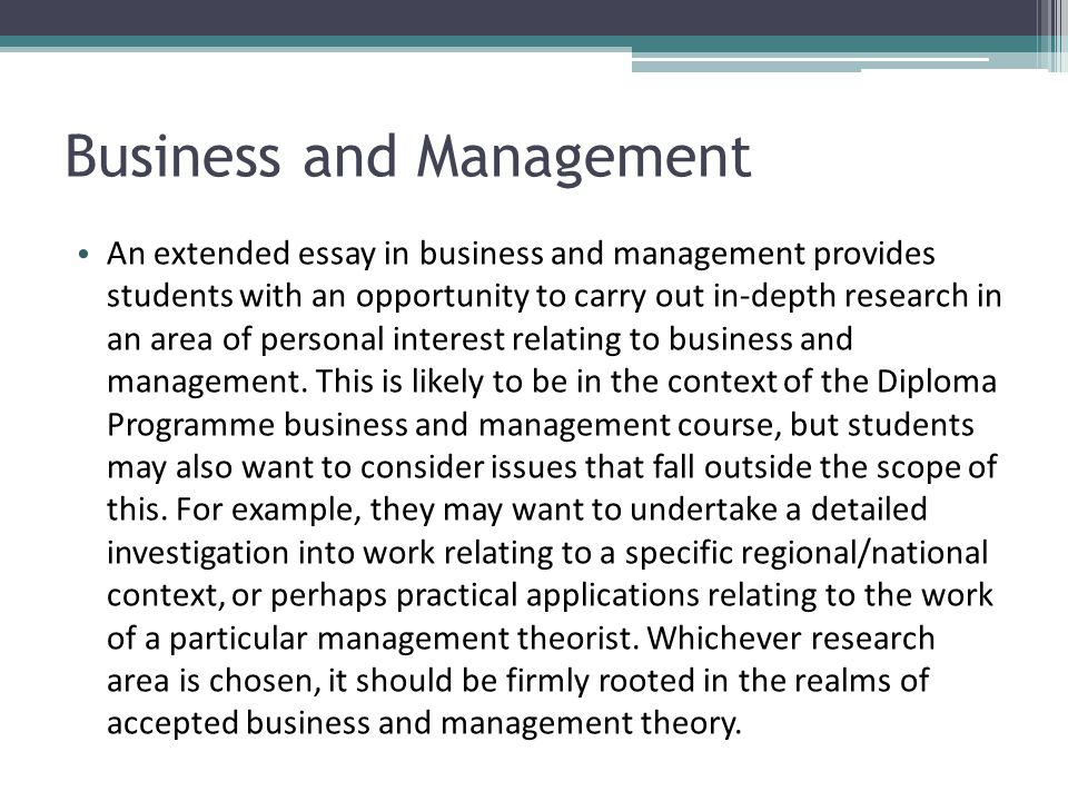 Extended Essay Examples Business Management - Extended essay samples