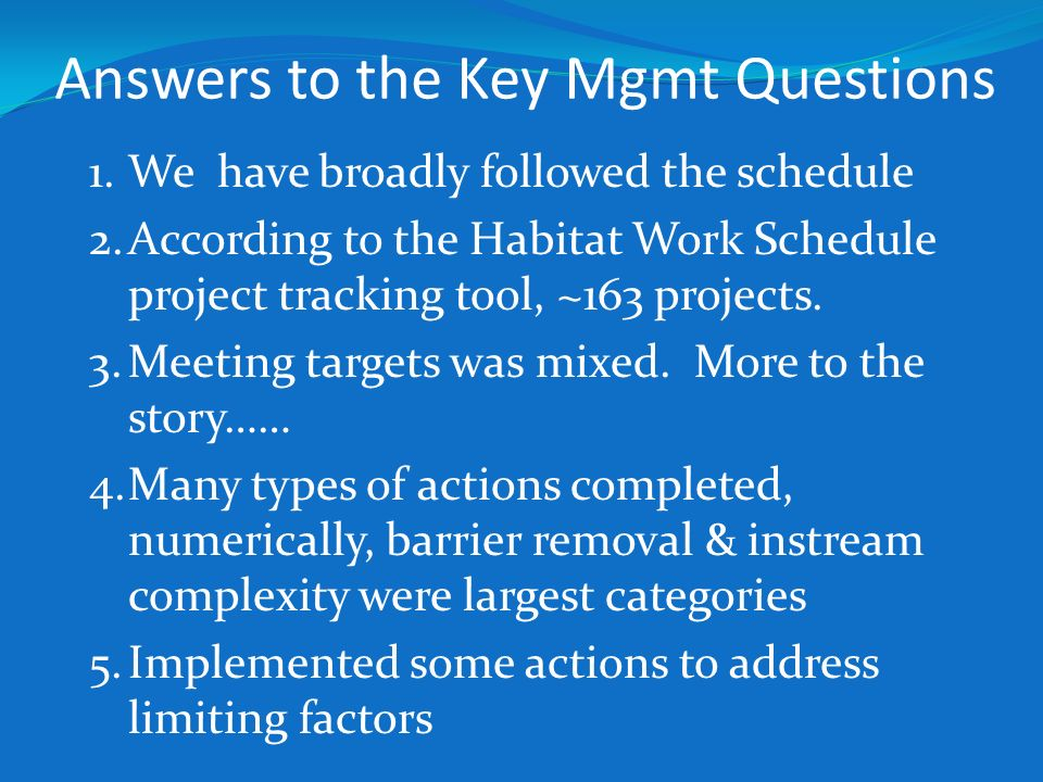 Answers to the Key Mgmt Questions