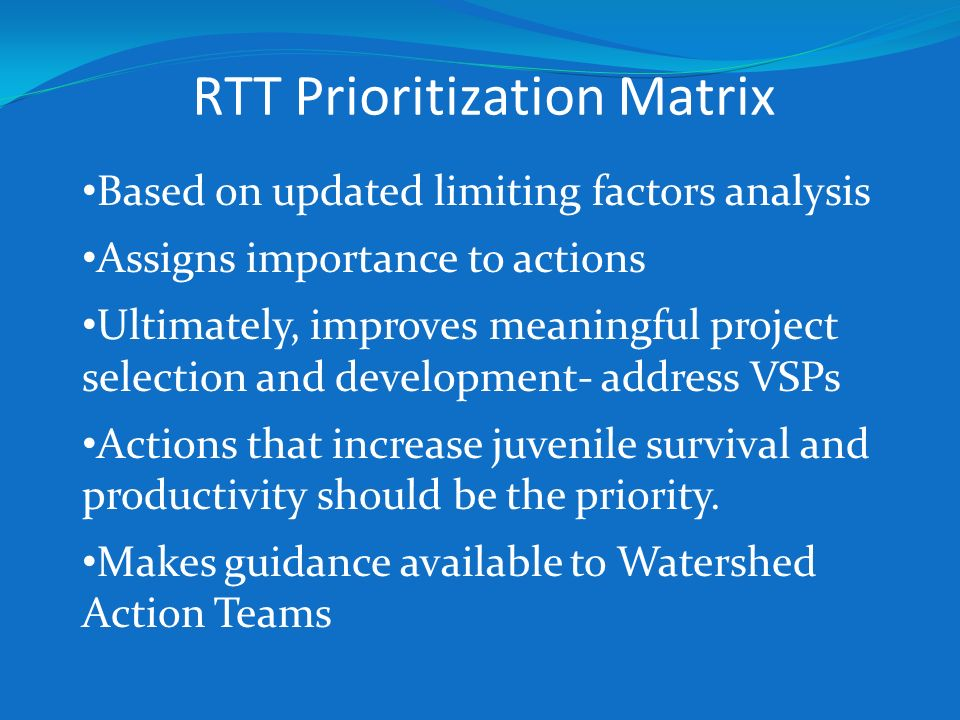 RTT Prioritization Matrix