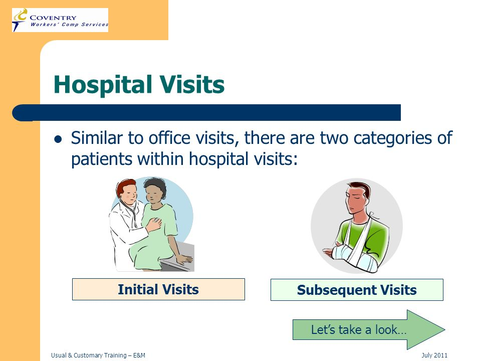 Hospital Visits Similar to office visits, there are two categories of patients within hospital visits: