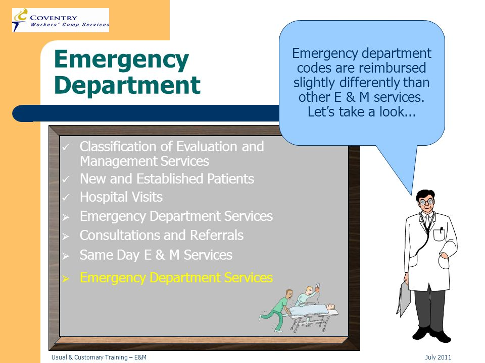 Emergency department codes are reimbursed slightly differently than other E & M services. Let's take a look...