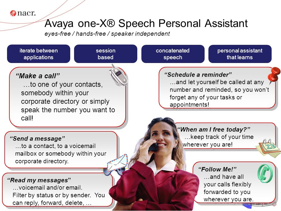 Avaya one-X® Speech Personal Assistant eyes-free / hands-free / speaker independent