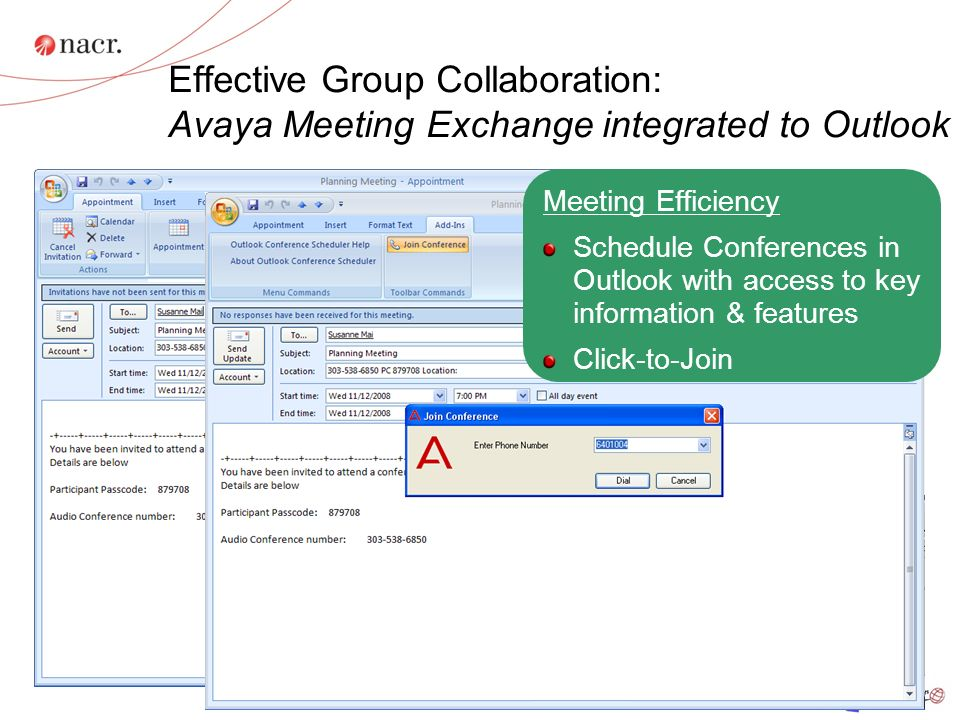 Effective Group Collaboration: Avaya Meeting Exchange integrated to Outlook