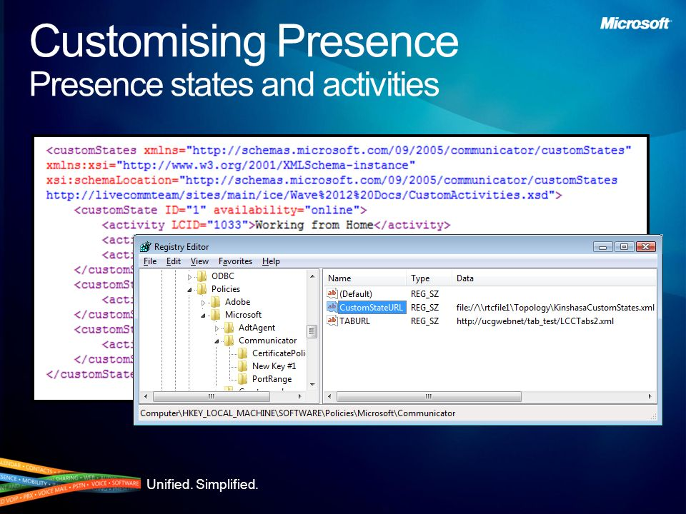 Customising Presence Presence states and activities