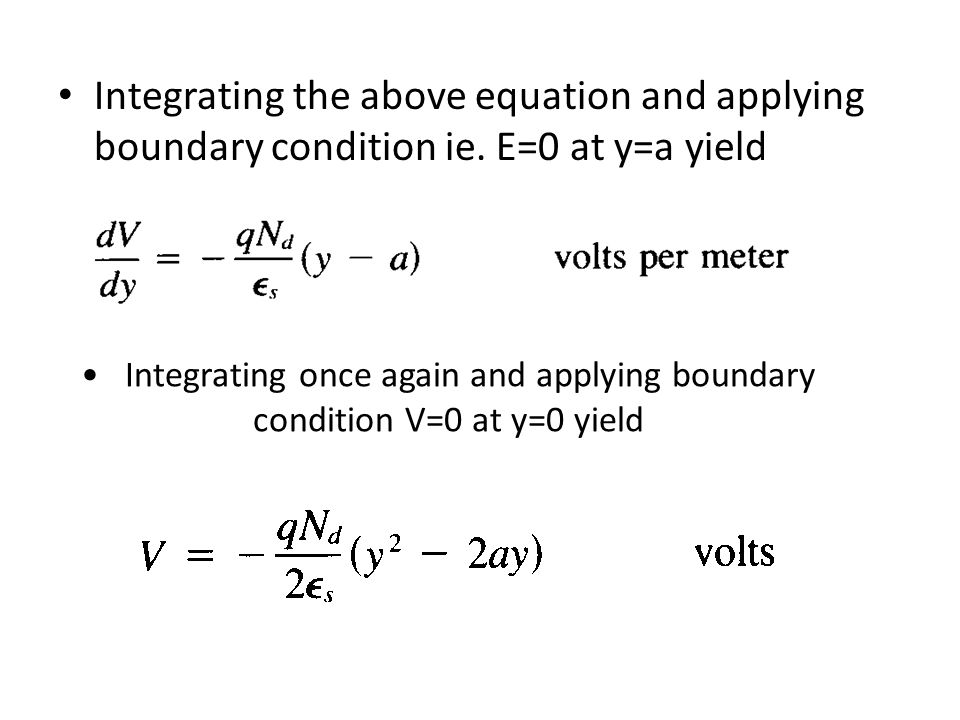 Integrating the above equation and applying boundary condition ie