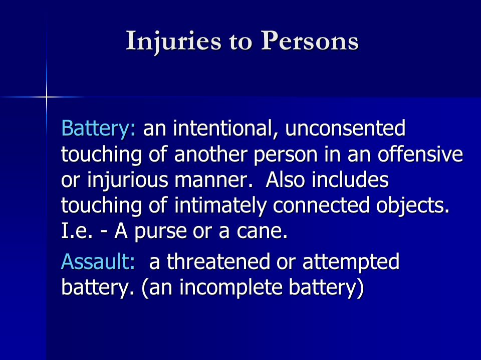 Injuries to Persons