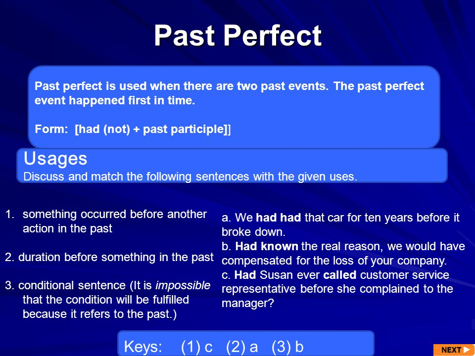Past Perfect Usages Keys: (1) c (2) a (3) b