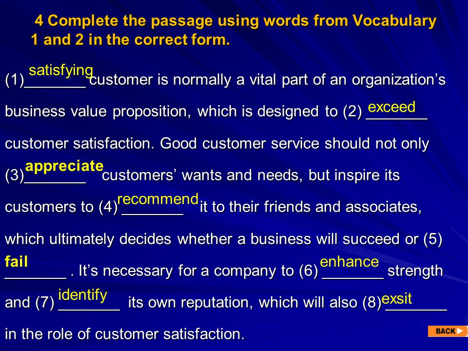 4 Complete the passage using words from Vocabulary 1 and 2 in the correct form.