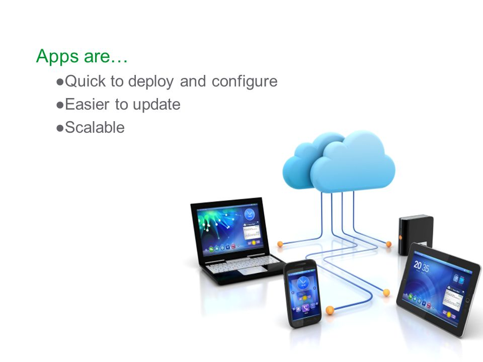 Apps are… Quick to deploy and configure Easier to update Scalable