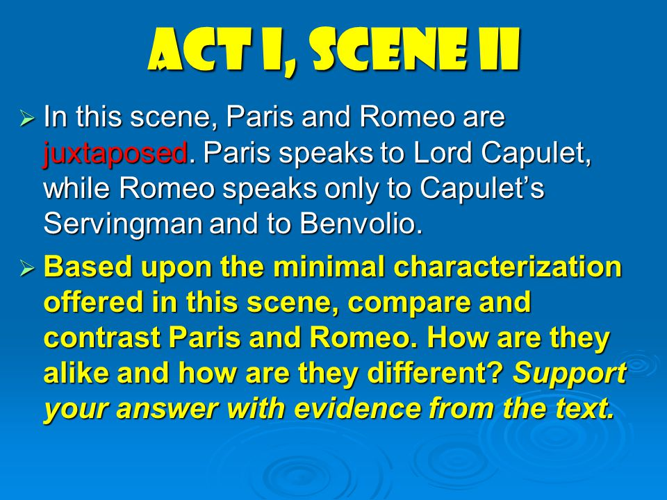 compare and contrast romeo and paris