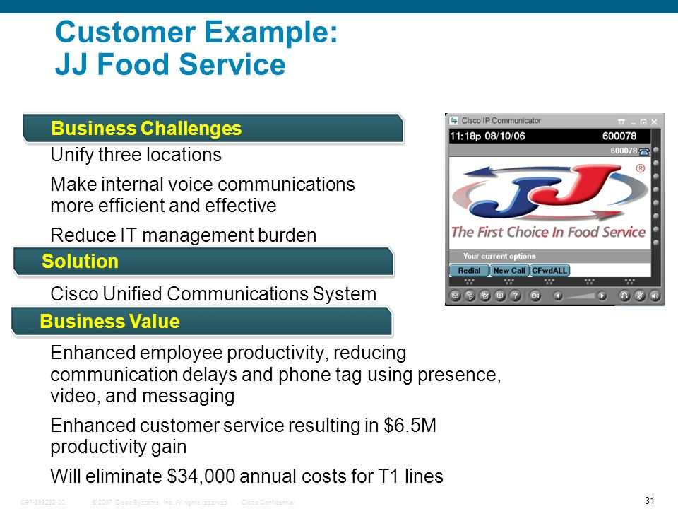 Customer Example: JJ Food Service