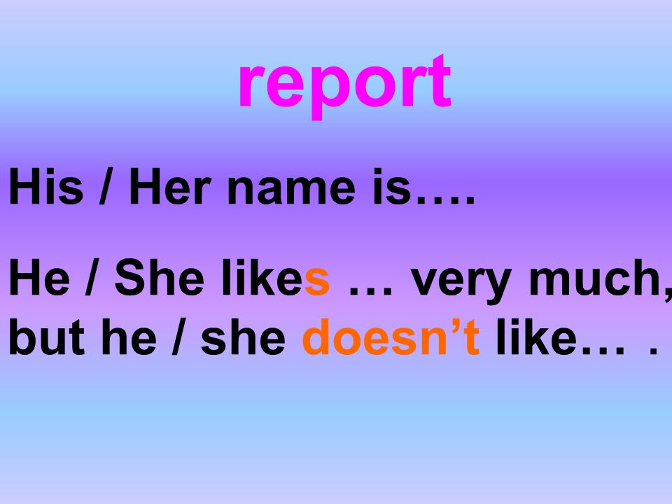 report His / Her name is….