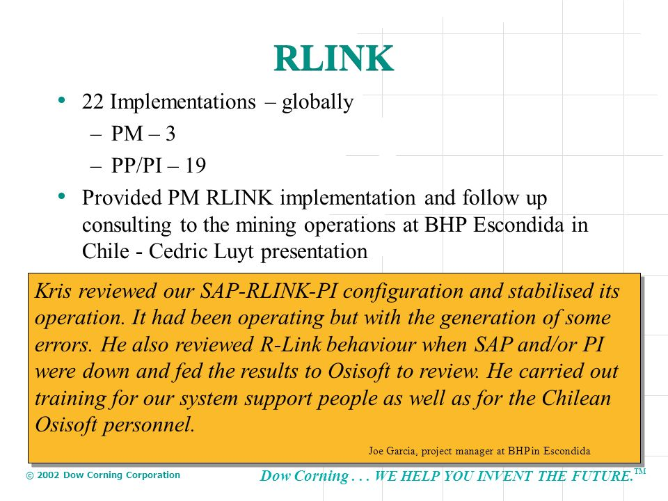 RLINK 22 Implementations – globally PM – 3 PP/PI – 19