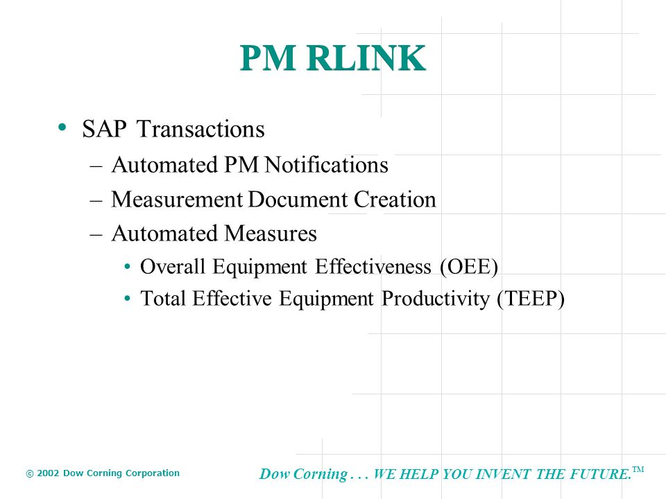 PM RLINK SAP Transactions Automated PM Notifications