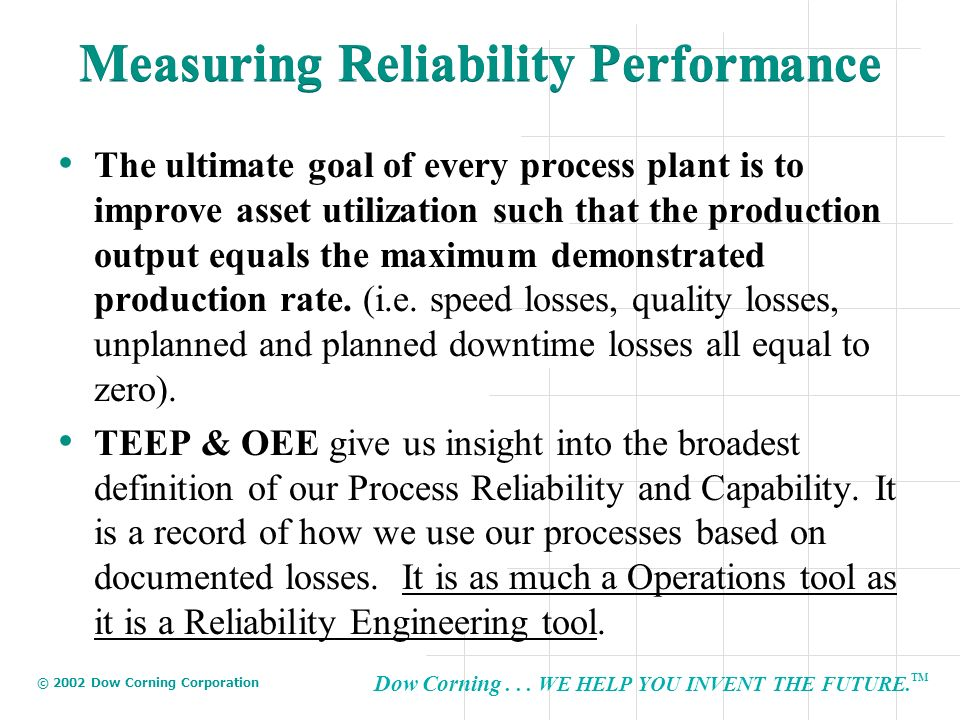 Measuring Reliability Performance
