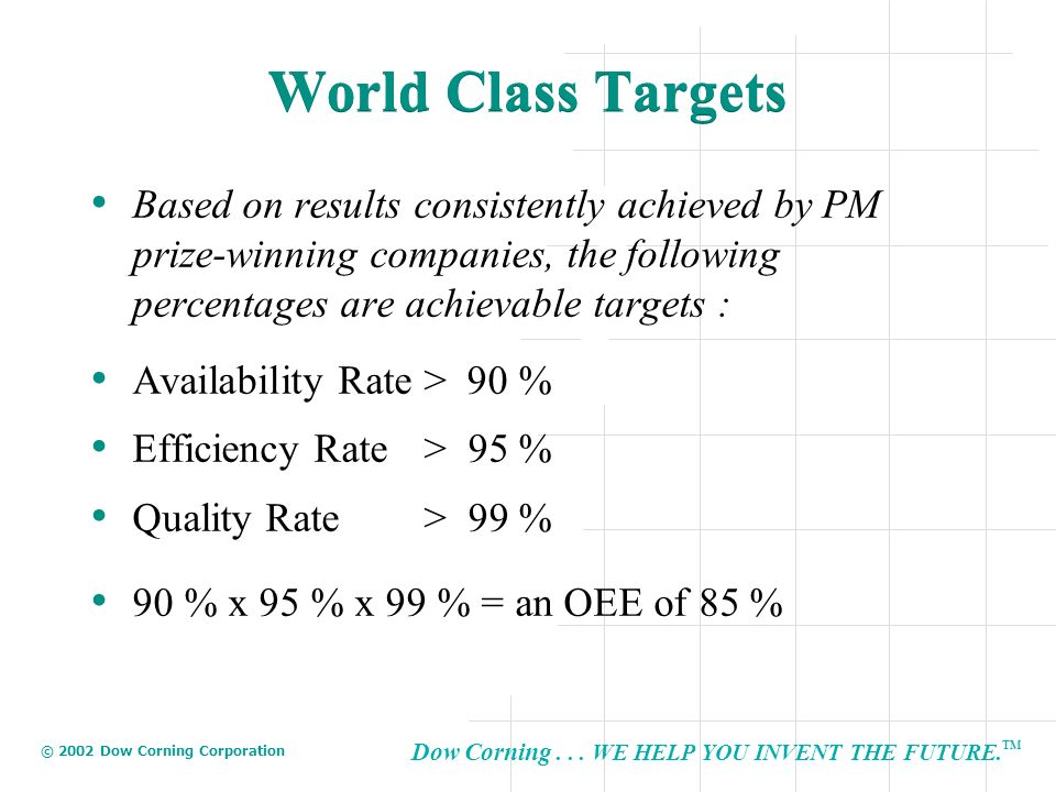 World Class Targets Based on results consistently achieved by PM prize-winning companies, the following percentages are achievable targets :