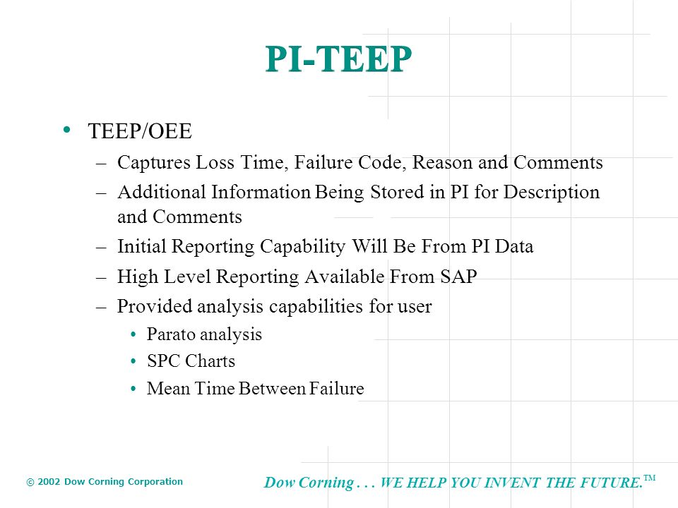 PI-TEEP TEEP/OEE Captures Loss Time, Failure Code, Reason and Comments