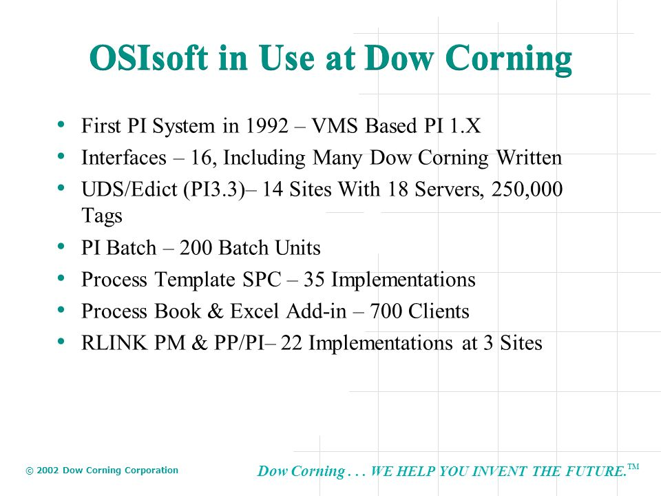 OSIsoft in Use at Dow Corning