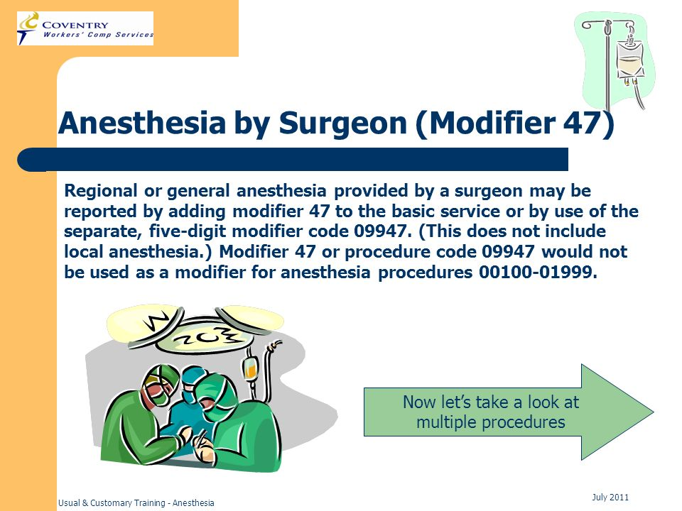 Anesthesia by Surgeon (Modifier 47)