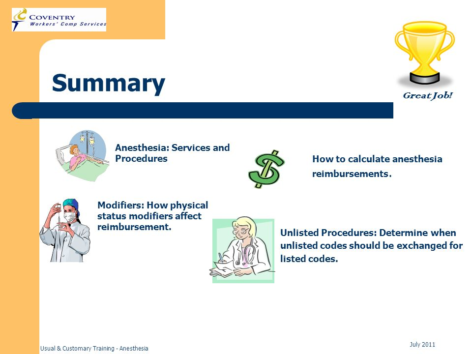 Summary Great Job! Anesthesia: Services and Procedures