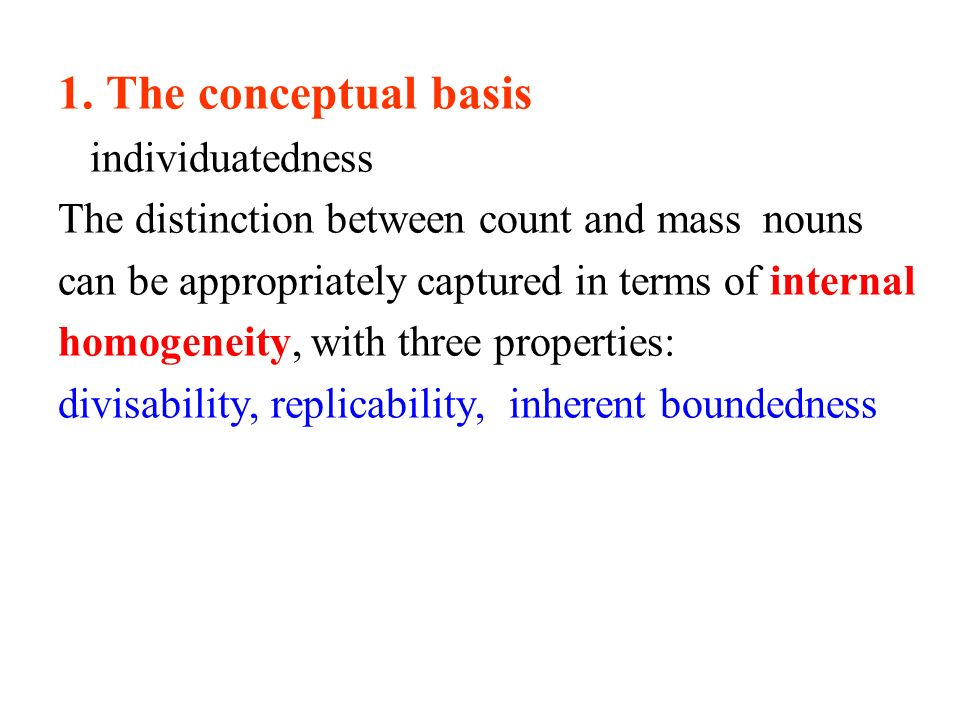 1. The conceptual basis individuatedness