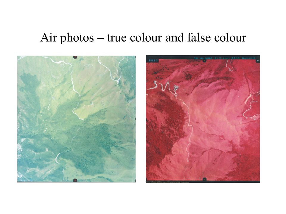 Air photos – true colour and false colour