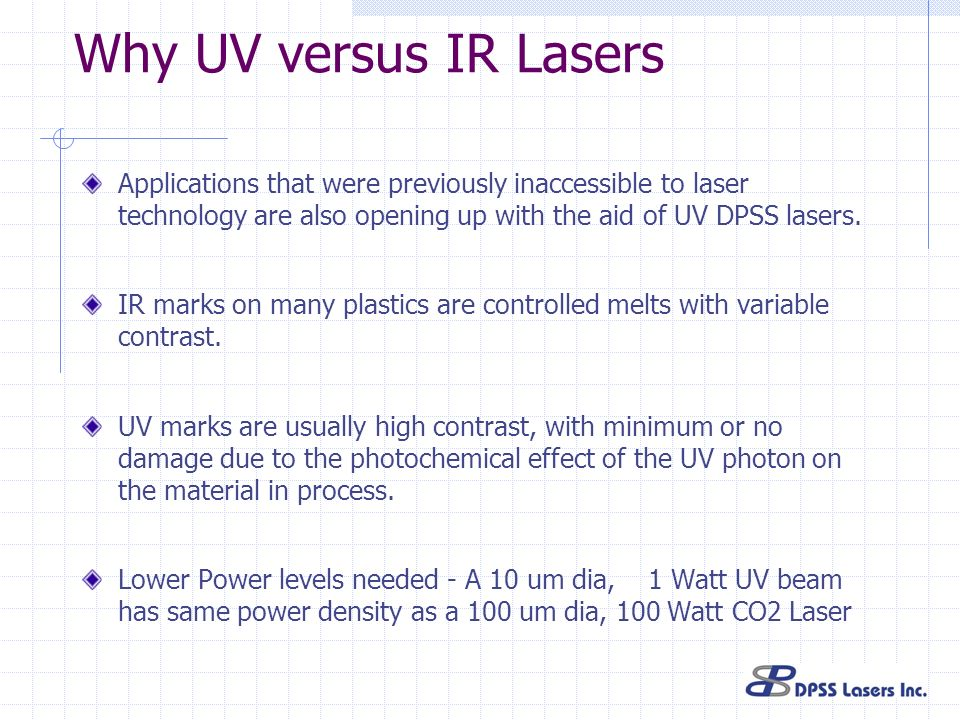 Why UV versus IR Lasers Applications that were previously inaccessible to laser technology are also opening up with the aid of UV DPSS lasers.