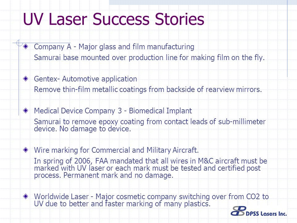 UV Laser Success Stories