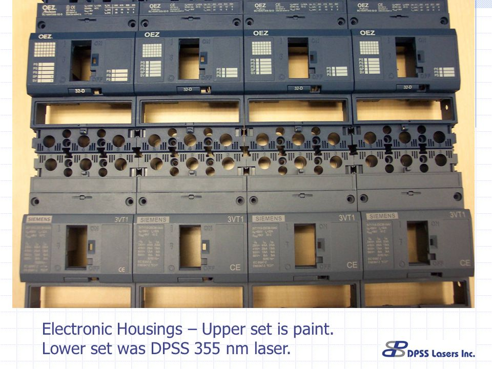 Electronic Housings – Upper set is paint.