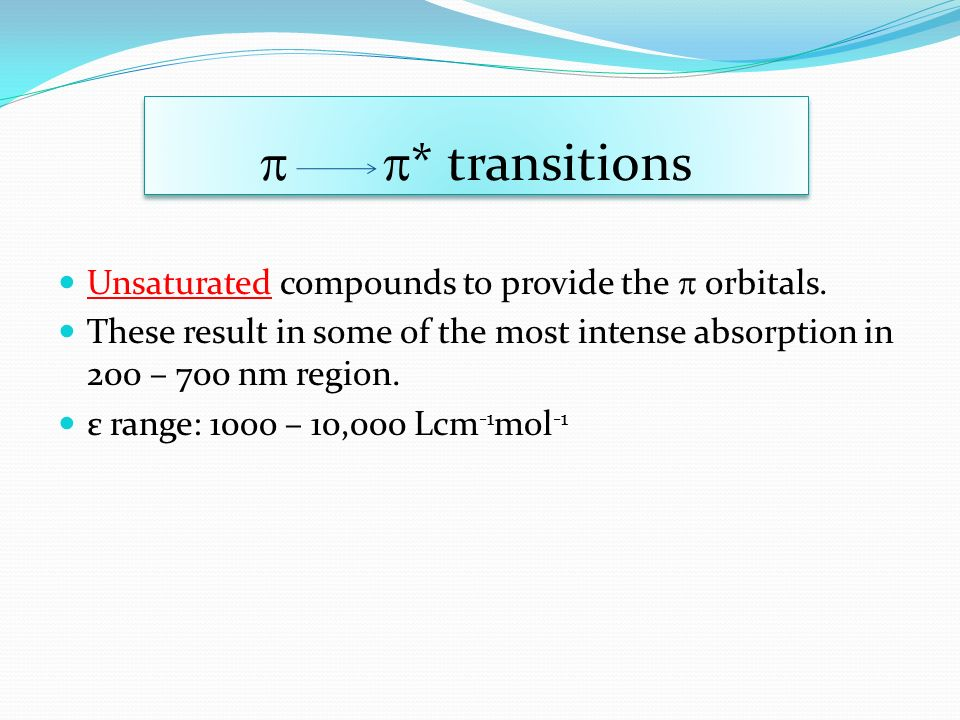  * transitions Unsaturated compounds to provide the  orbitals.