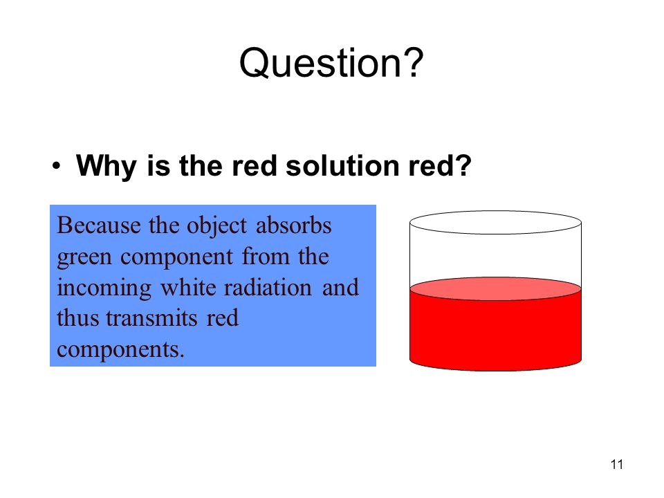Question Why is the red solution red