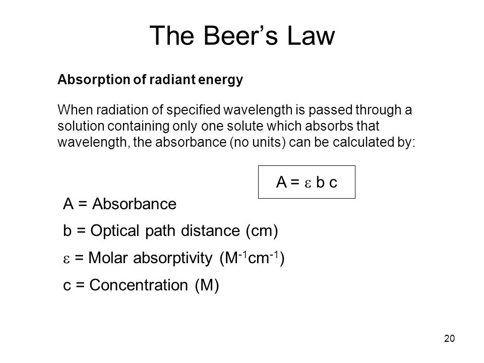 The Beer's Law A = Absorbance b = Optical path distance (cm)