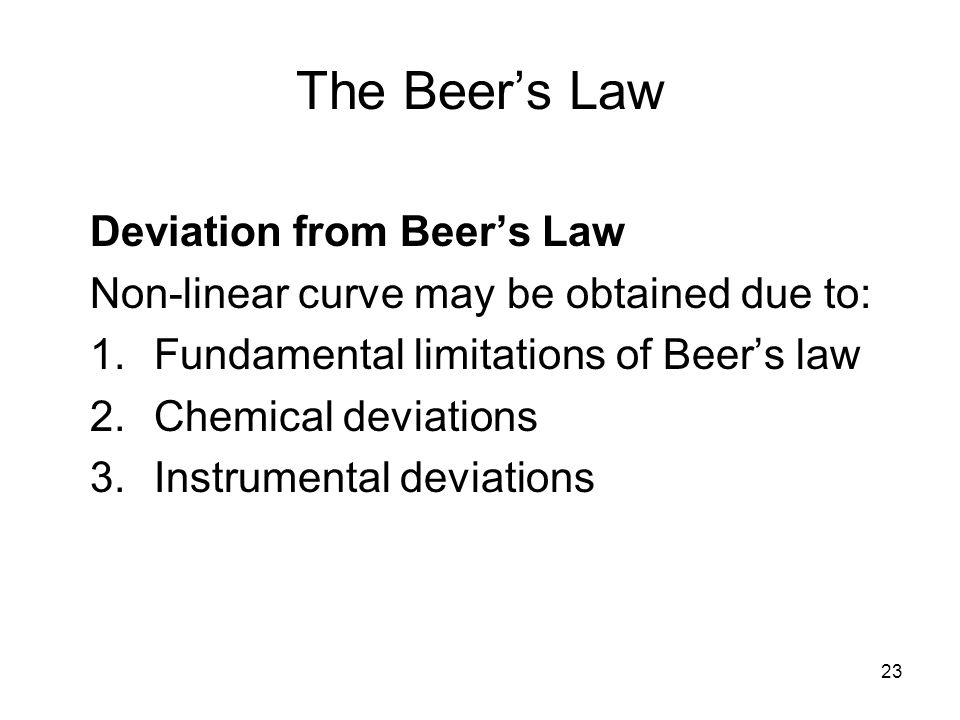 The Beer's Law Deviation from Beer's Law