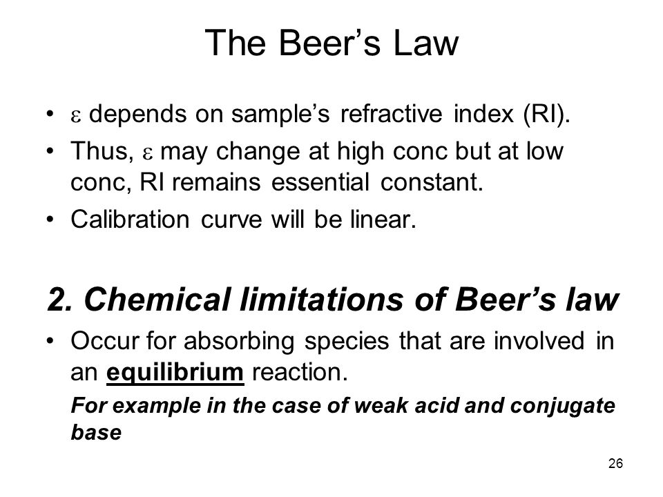 The Beer's Law 2. Chemical limitations of Beer's law
