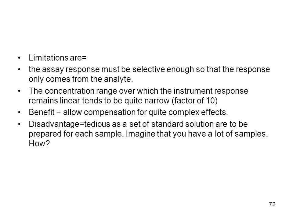 Limitations are= the assay response must be selective enough so that the response only comes from the analyte.