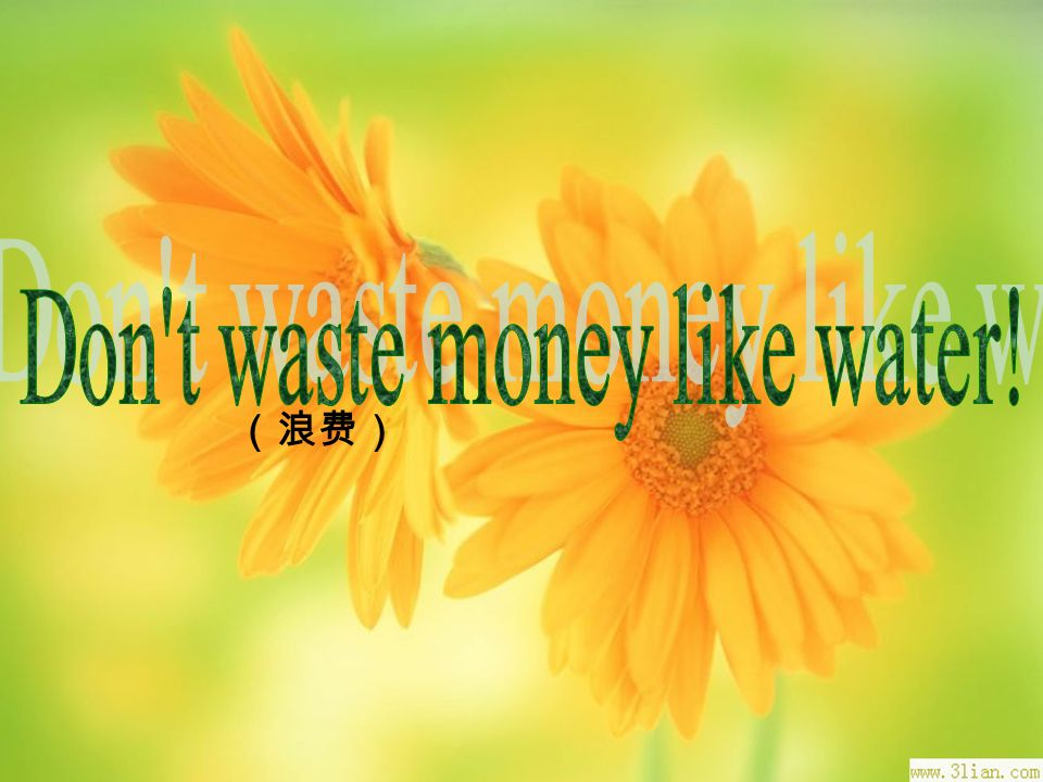 Don t waste money like water!