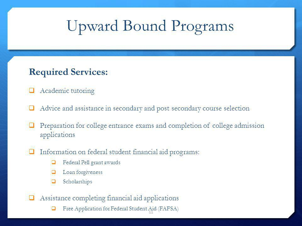 Upward Bound Programs Required Services: Academic tutoring