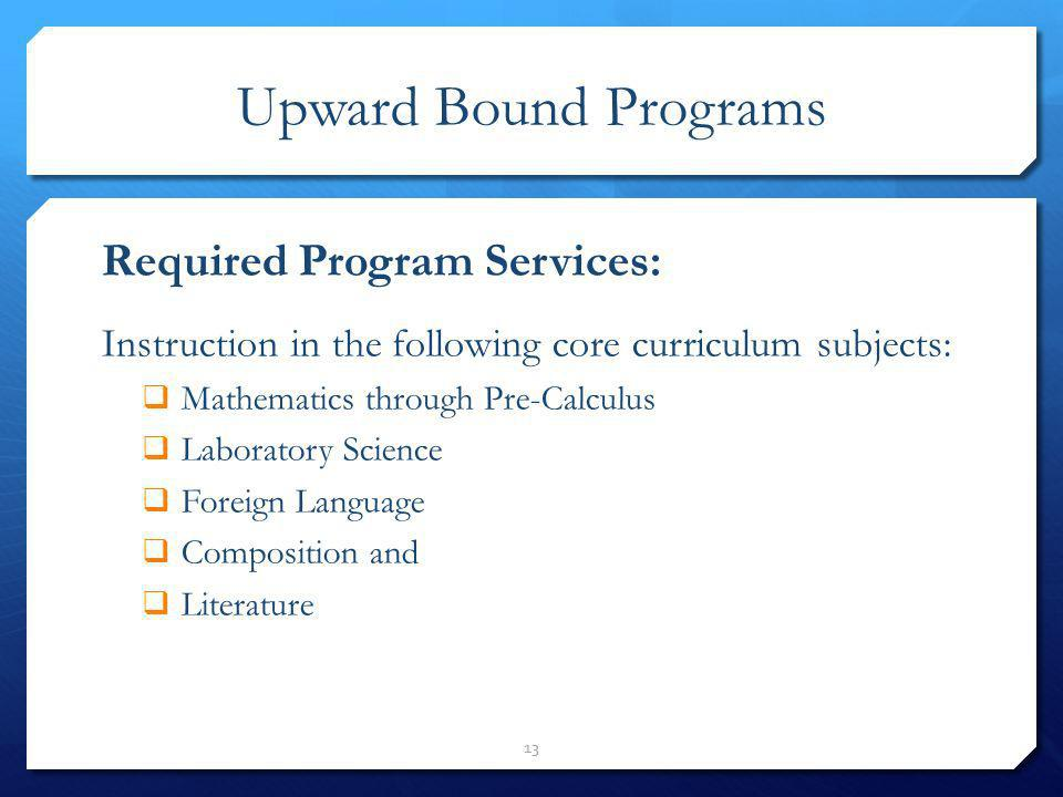 Upward Bound Programs Required Program Services: