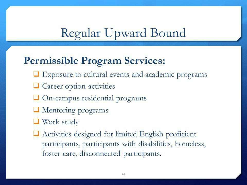 Regular Upward Bound Permissible Program Services: